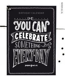 Birthday calendar A5 / / handlettered quotes