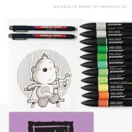 Materialenpakket bij workshop cute animals tekenen