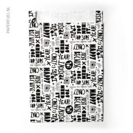 Tijdschriftenzak 25 x 34 cm lettering Paperfuel 100 stuks
