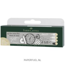 Set 4 pennen, 3 witte PITT Artist pen, 1 fineliner