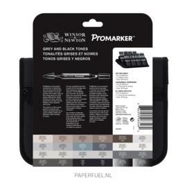 Promarker set 24 alcoholmarker grey and black tones etui