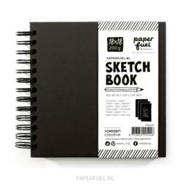 Schetsboek zwart 18 x 18 cm Paperfuel