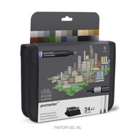 Promarker set 24 alcoholmarker architectural tones etui