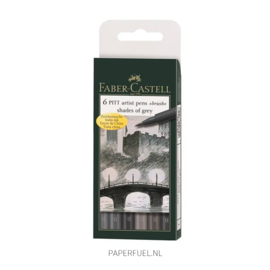 Set 6 brushpennen Faber Castell shades of grey
