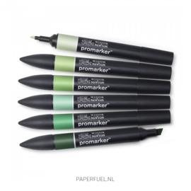 Promarker set 6 green tones