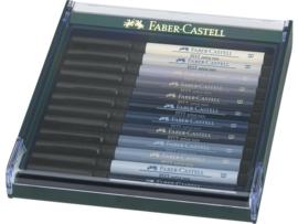 Set 12 brushpennen Faber Castell Pitt Artist Pen grijstinten