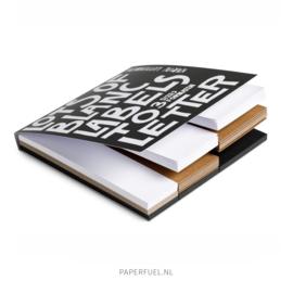 Cadeaulabel blok met 135 blanco labels (kraft, zwart, wit)