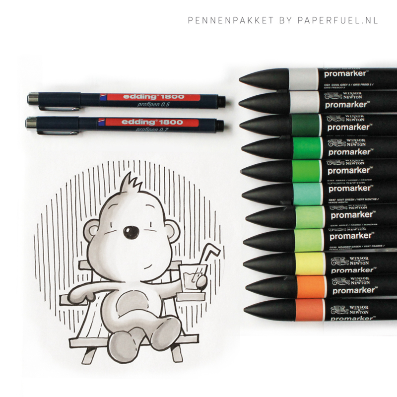 Pennenpakket bij workshop cute animals tekenen