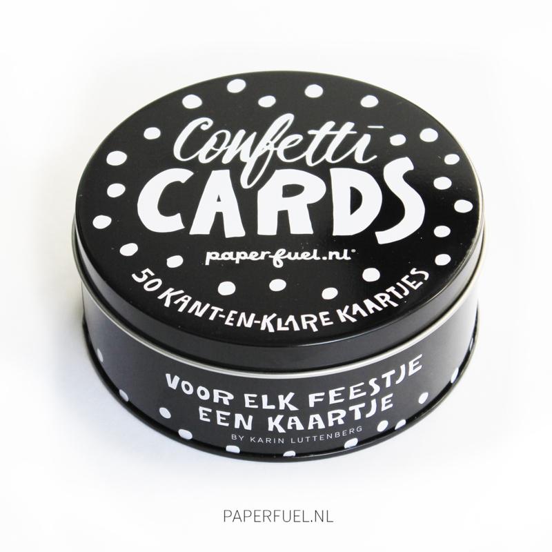 Confetti cards in blikje 50 kaarten