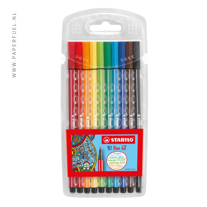 STABILO Pen 68 viltstift etui 10 kleuren