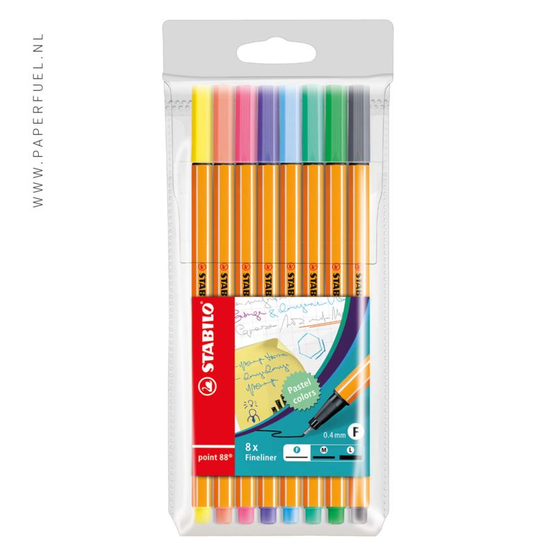 Stabilo fineliners point 88 etui 8 pastel kleuren