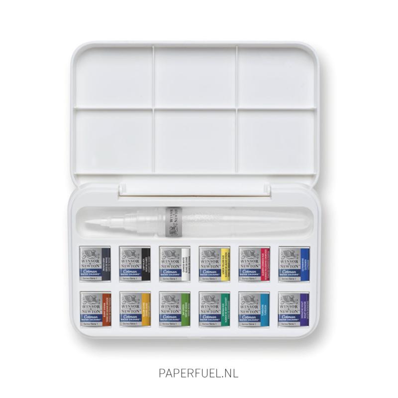 Cotman set aquarel 12 kleuren waterbrush