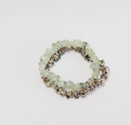 Bracelets: Prehnite & Dalmatian Jasper