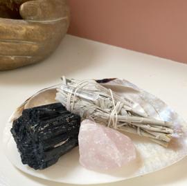 Hallway SET - toermalijn * rozenkwarts * salie * schelp * bergkristal*