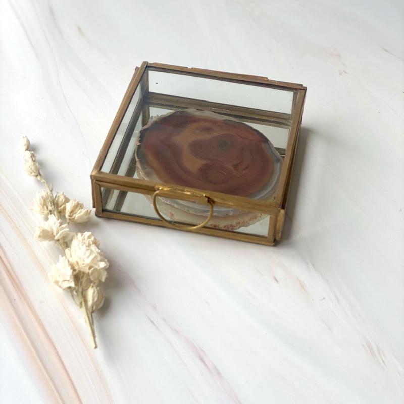 Box for Rocks Goud  - spiegelbodem - met deksel