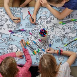 EatSleepDoodle Tafelkleed Wereldkaart – Om in te kleuren