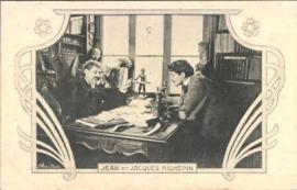 Ansichtkaart van de auteurs Jean en Jacques Richepin, ca 1900