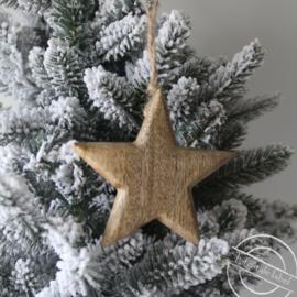 Houten kerstster hanger
