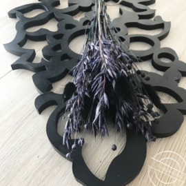 Droogbloemen boeket paars/zwart
