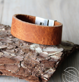 Heren armband cognac breed