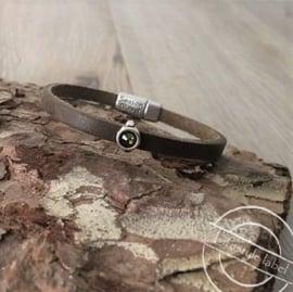 Leren armband donker groen