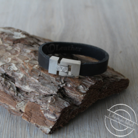 Heren armband glad zwart small