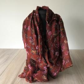 Sjaal bloemetjes donker rood