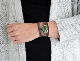 Leren armband hart groen