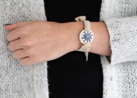 Leren armband Zeeuwse knop wit/blauw