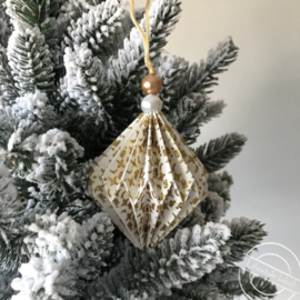 Ornament kerstbal wit/goud