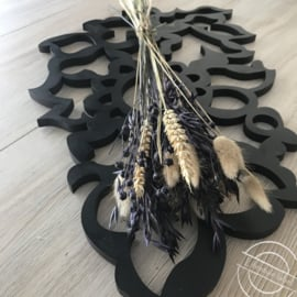 Droogbloemen boeket paars/naturel