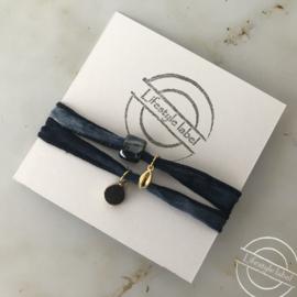 Wikkelarmband d.blauw goud