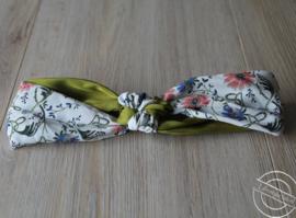 Haarband groen bloemetjes