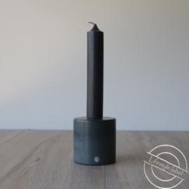 Marmeren kaarsen kandelaar L grijs/zwart