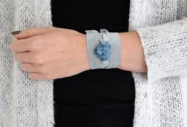 Suède armband blauw
