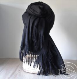 Heren sjaal donker zwart met franjes