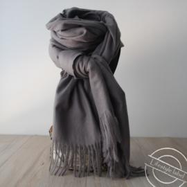 Heren sjaal grijs met franjes