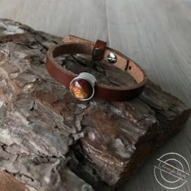Leren armband cognac