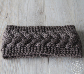 Warme haarband gebreid taupe
