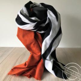 Dames sjaal zebra oranje