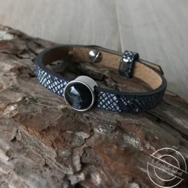 Leren armband snake blauw