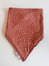 Sjaal stippen roest bruin-wit
