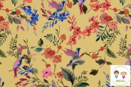 Colsjaal okergeel vogels&bloemen