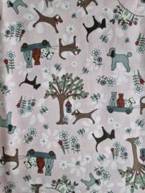 Scrunchie Dogs & Cats Roze