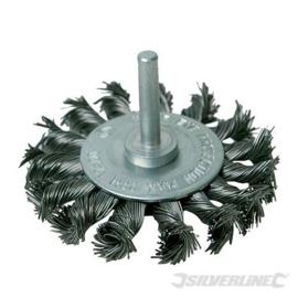 Silverline Staalborstel wiel met getordeerd draad 75mm