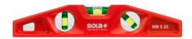 SOLA Alu waterpas gegoten magneet. 25cm 3 libel. (steigerbouw) MM5 25 (Sola)
