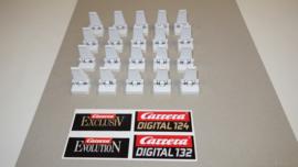 Set van 20 witte vangrailklemmen tbv de rood/wit geblokte Carrera vangrails.