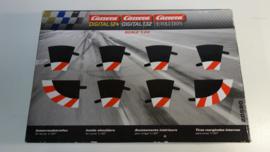 Carrera Excl./Evo./Digi  set binnen-slipstroken rood/wit t.b.v. bocht 1/30.   Nr. 20590. in OVP