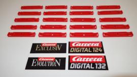 Set van  20 rode verbindingsclips tbv de Carrera ExlusiV/Evolution/Digitaal baandelen