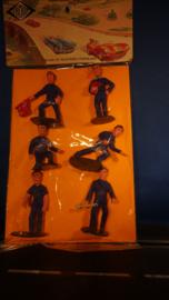 6 blauwe monteurs